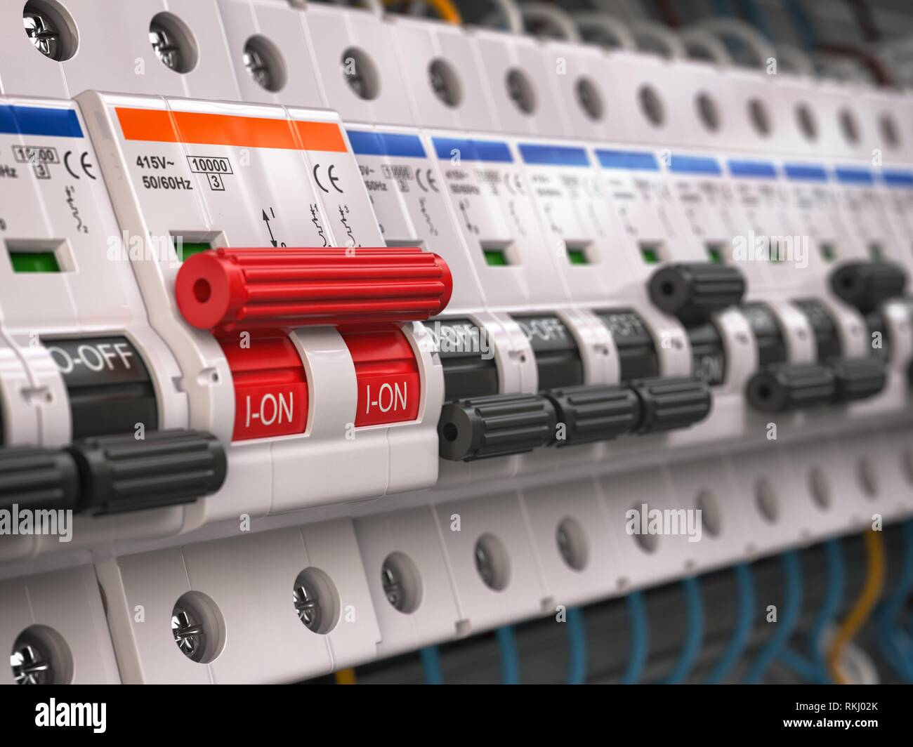 switches in fusebox  many black circuit brakers in a row in position off  and one red switch in position on  3d illustration