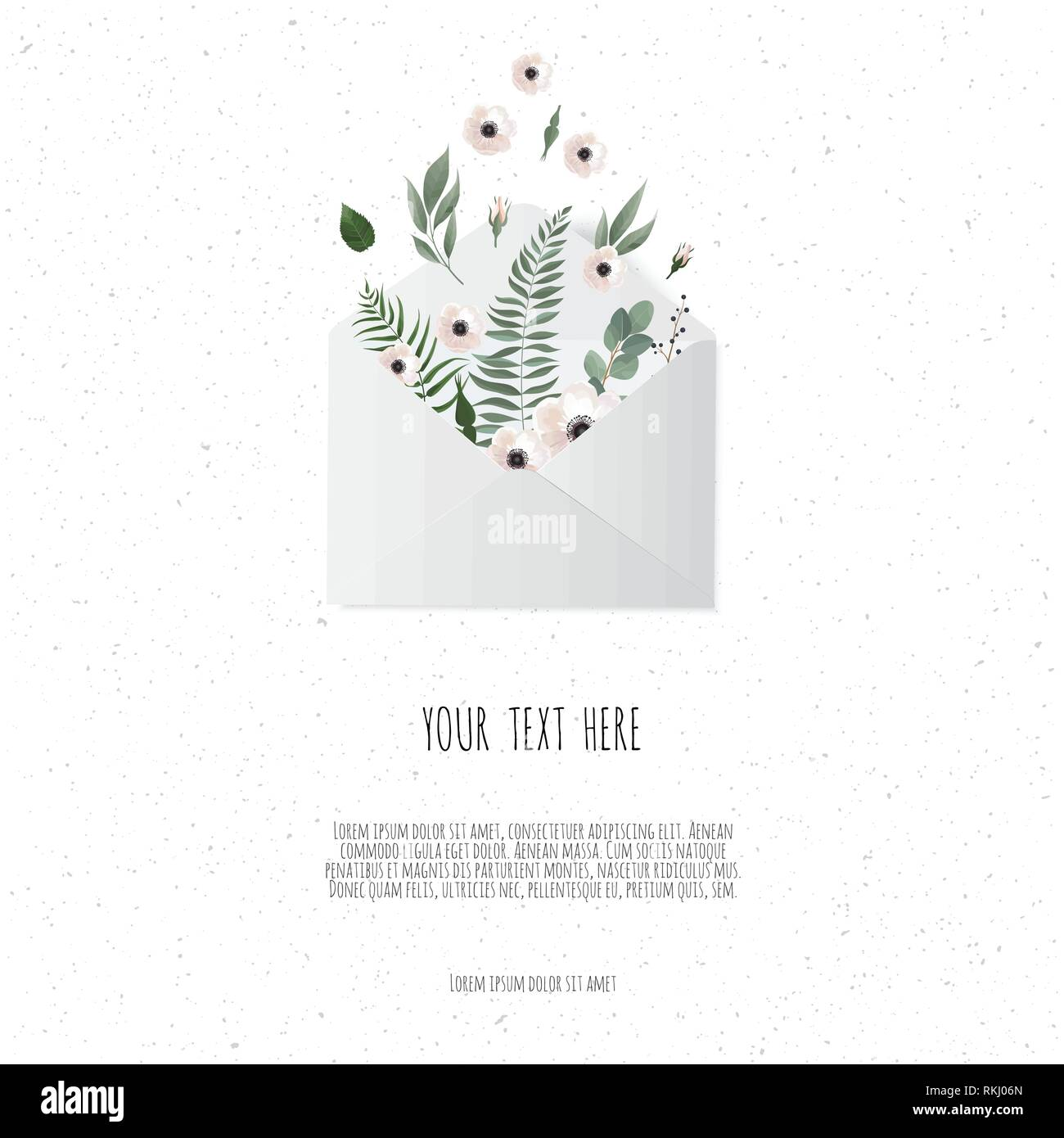 Flowers in envelope on the white background. - Stock Vector