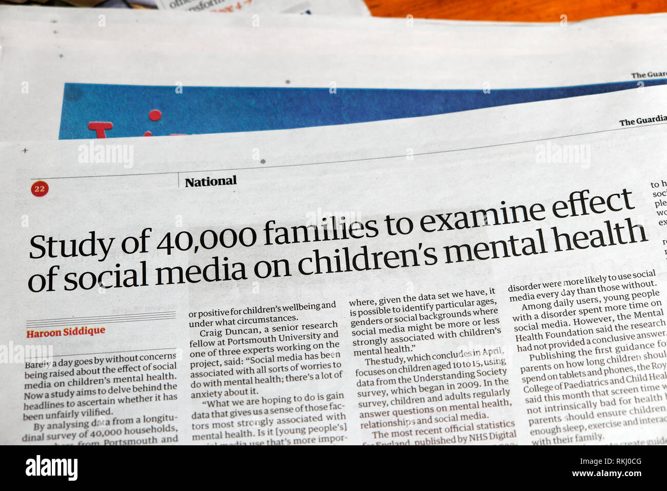 Guardian newspaper article 'Study of 40,000 families to examine effect of social media on children's mental health' January 2019 London England UK - Stock Image