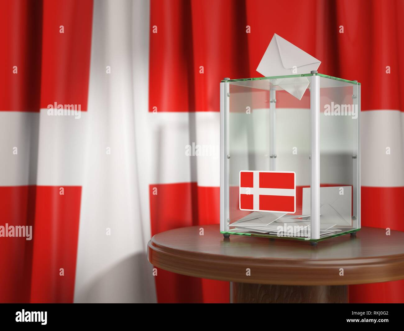 Ballot box with flag of Denmark and voting papers. Danish presidential or parliamentary election. 3d illustration. - Stock Image