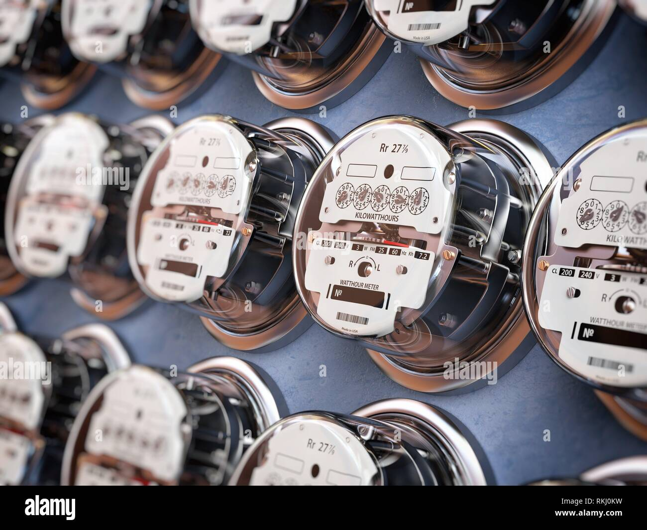 Electric meters in a row measuring power use. Electricity consumption concept. 3d illustration. - Stock Image