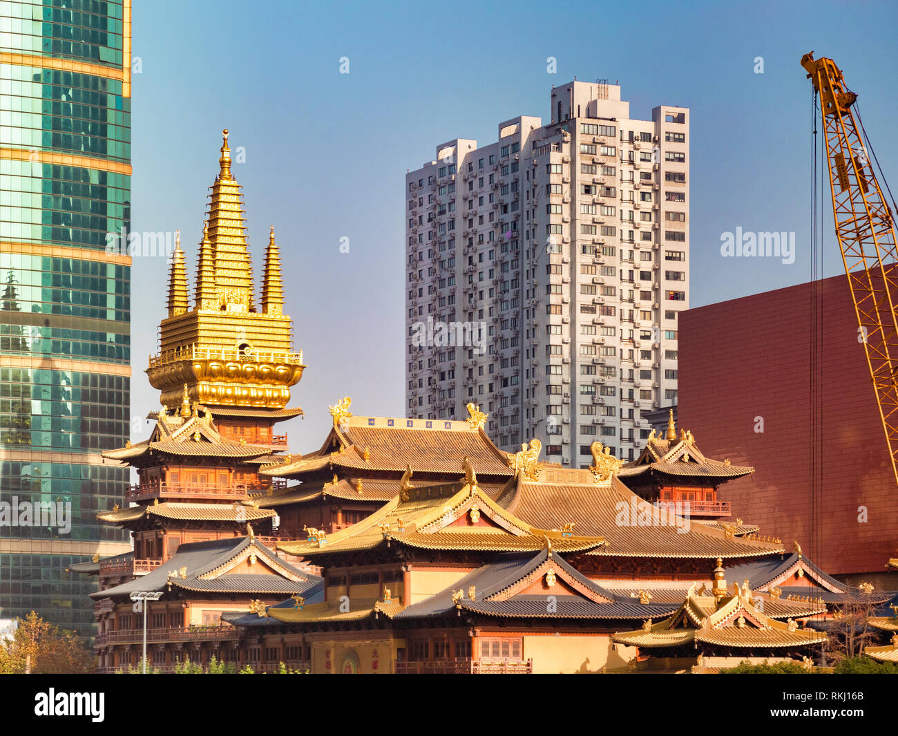 Jing'an Buddhist Temple in Shanghai, China, surrounded by modern high-rise buildings. - Stock Image