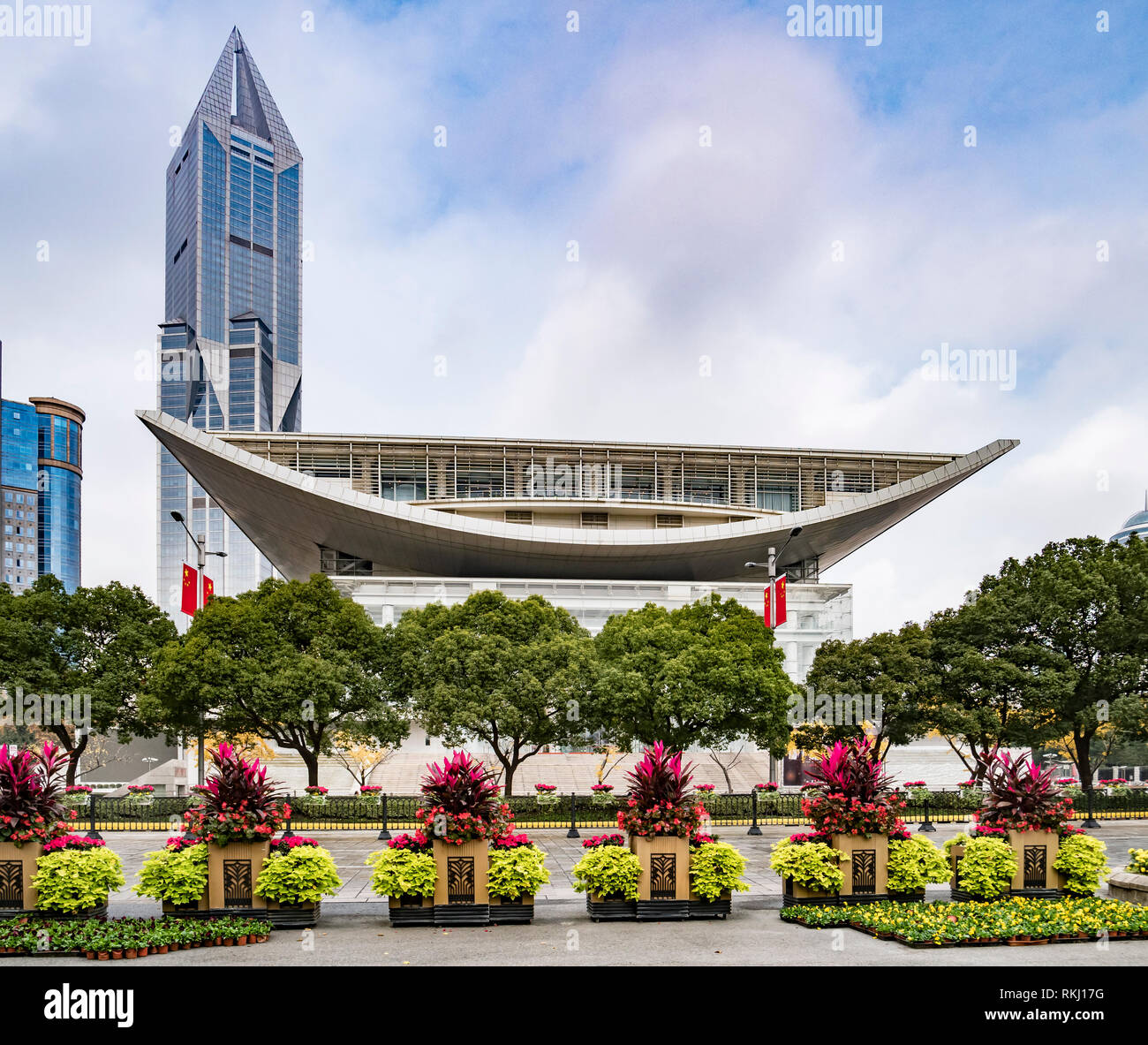 2 December 2018: Shanghai, China - The Shanghai Urban Planning Exhibition Center from People's Square. - Stock Image