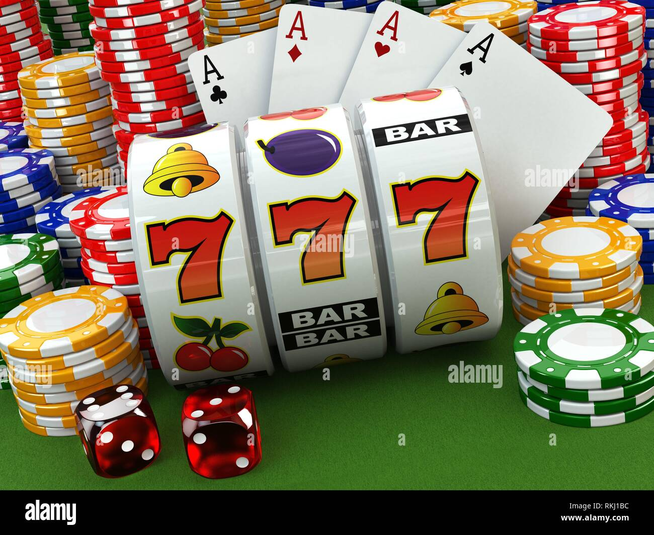 Casino Concept Jackpot Poker Cards Chips And Dice 3d Stock Photo Alamy