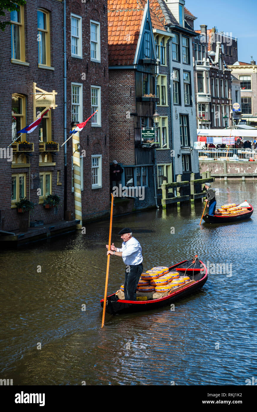 Boatmen and cheese boats, Alkmaar Cheese Market, Holland, The Netherlands - Stock Image