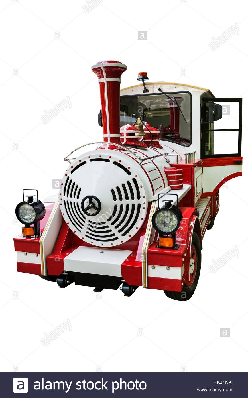 beautiful steam locomotive on a white background. - Stock Image