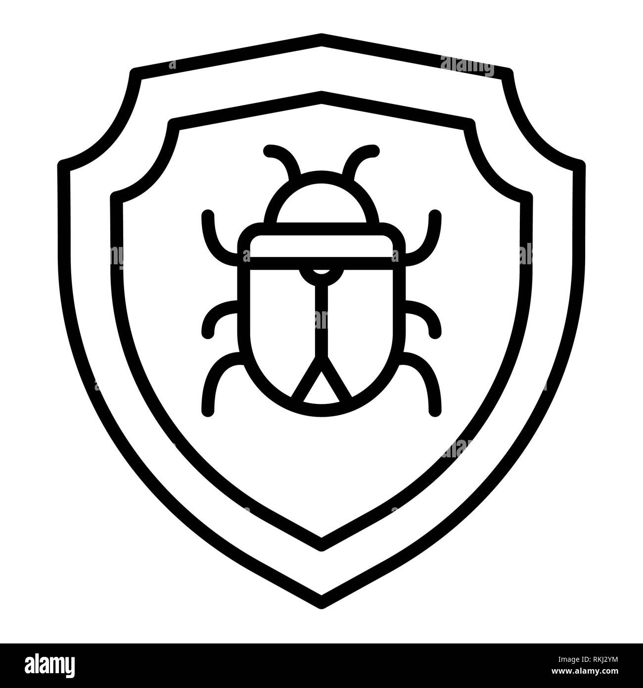 Antivirus Icon, Vector Illustration, Technology Outline - Stock Image