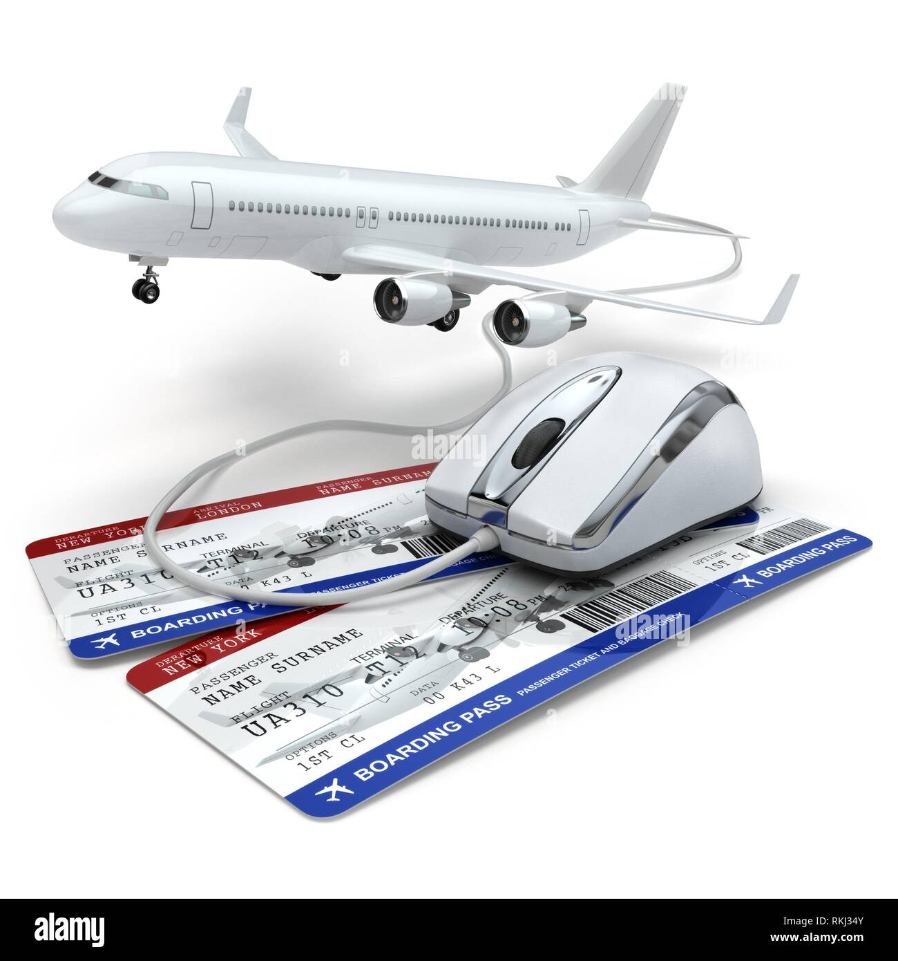 Online booking flight or travel concept. Computer mouse, airline tockets and airplane. 3d. - Stock Image