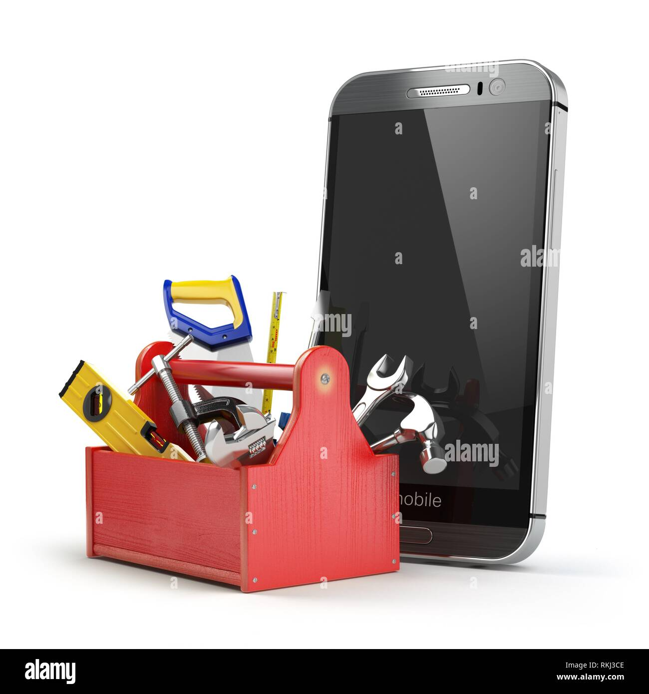 Mobile phone service concept  Online support  Smartphone with