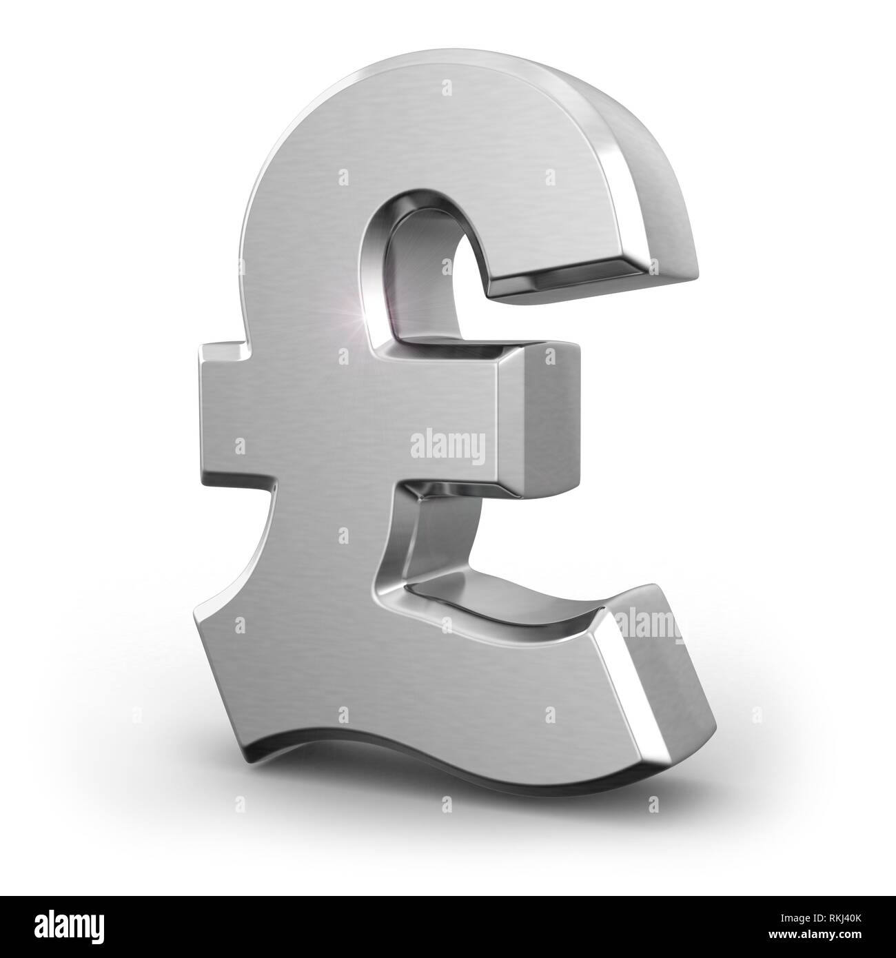 Silver pound currency sign on white isolated background. 3d. - Stock Image