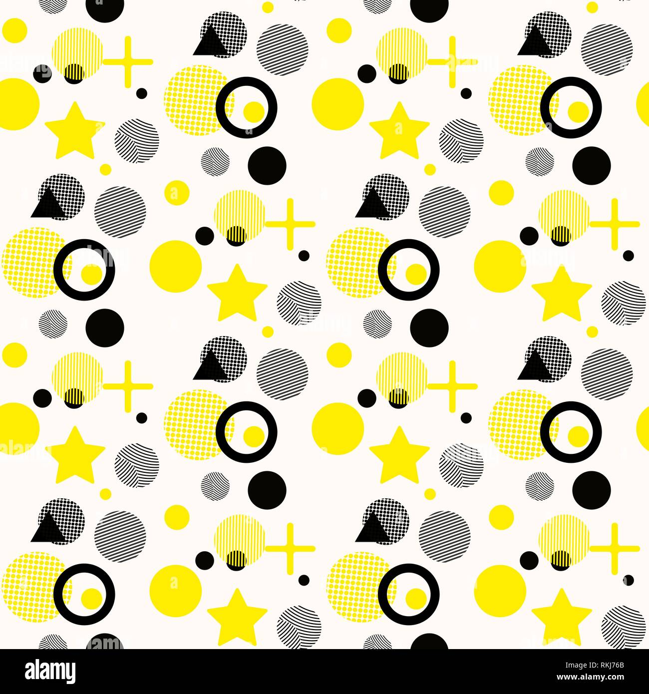 Universal Vector Fashion Geometric Seamless Pattern Flat Repeated Trendy Design Elements In Black White Yellow Memphis Style For Package Stock Vector Image Art Alamy