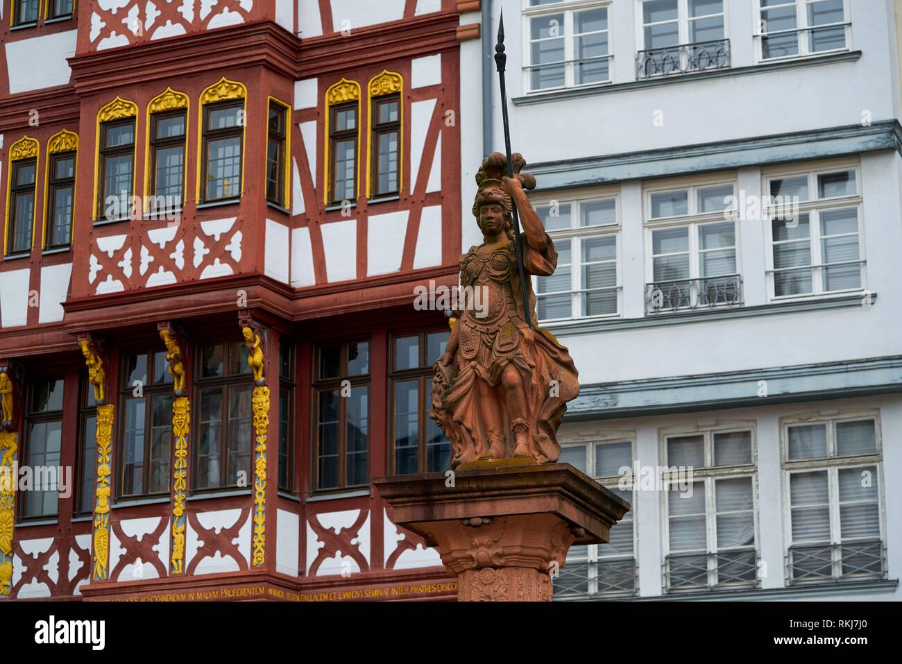 Frankfurt Justitia Lady Justice statue in Romerberg square of Germany. - Stock Image