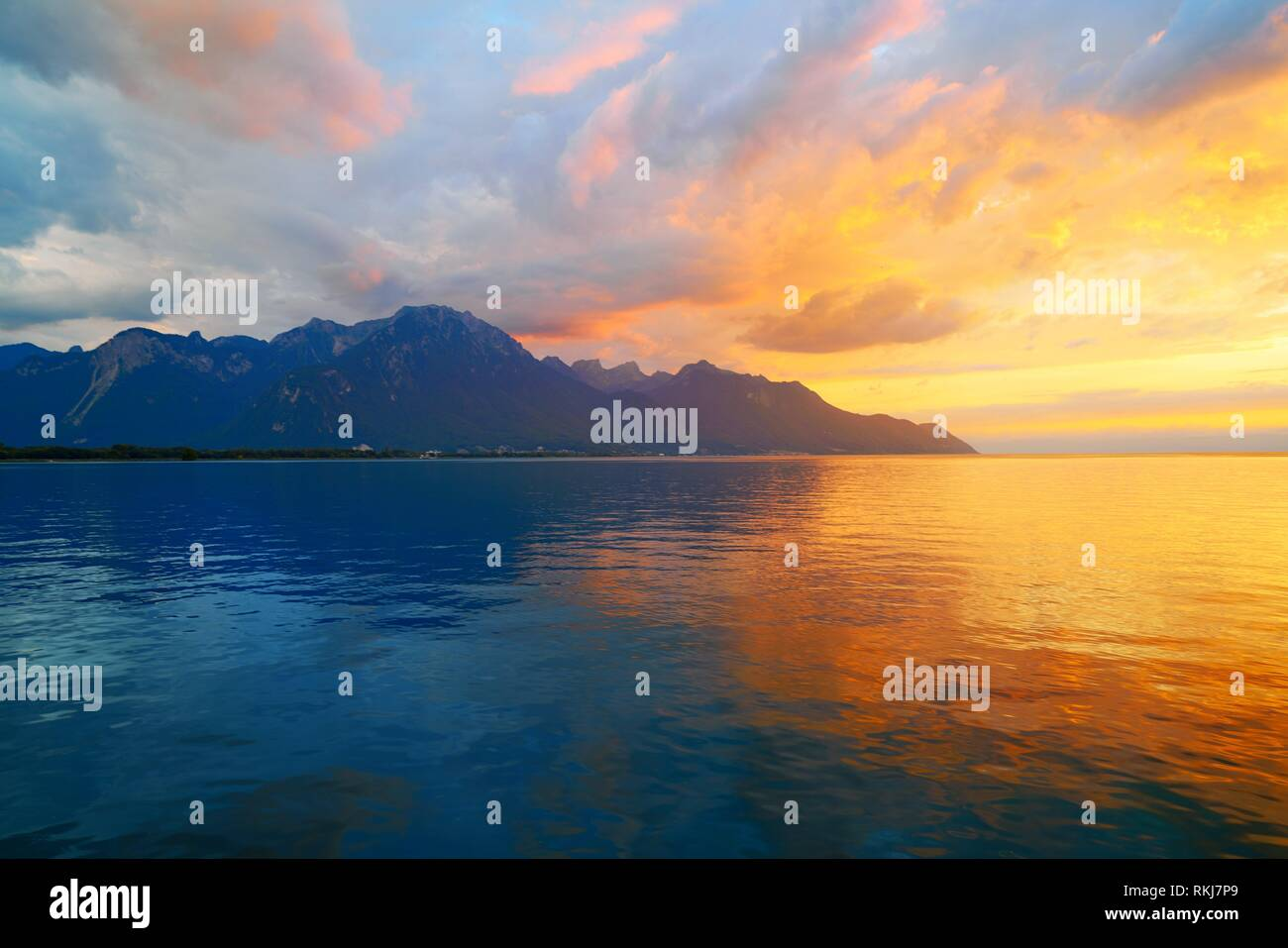 Leman Geneva lake sunset in Switzerland Swiss. - Stock Image