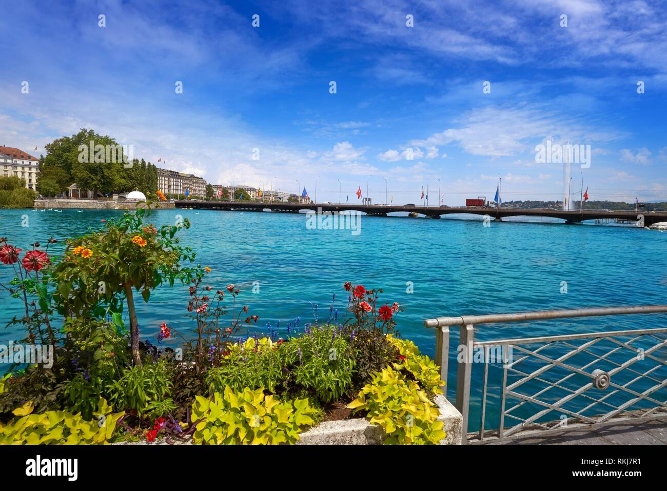 Geneva Geneve at Leman lake in Switzerland Swiss. - Stock Image