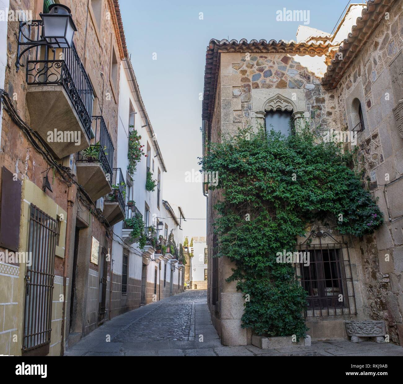 Hospital of Pilgrim Knights Gothic building Caceres historic quarter, Spain. - Stock Image