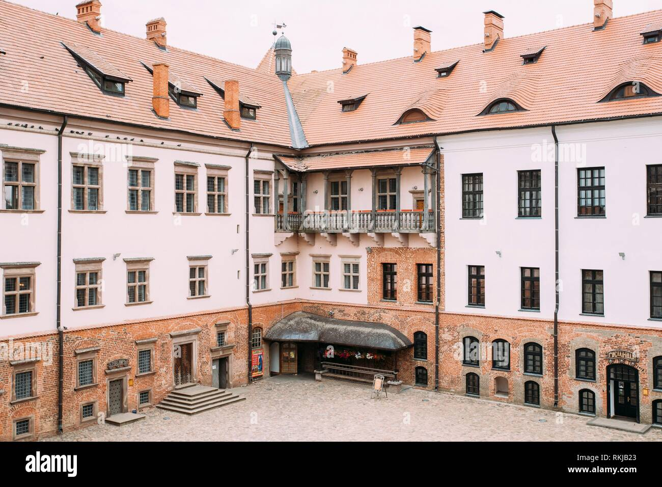Mir, Belarus. Courtyard Of Castle. Architectural Ensemble Of Feudalism, Ancient Cultural Monument, UNESCO Heritage. Famous Landmark. - Stock Image