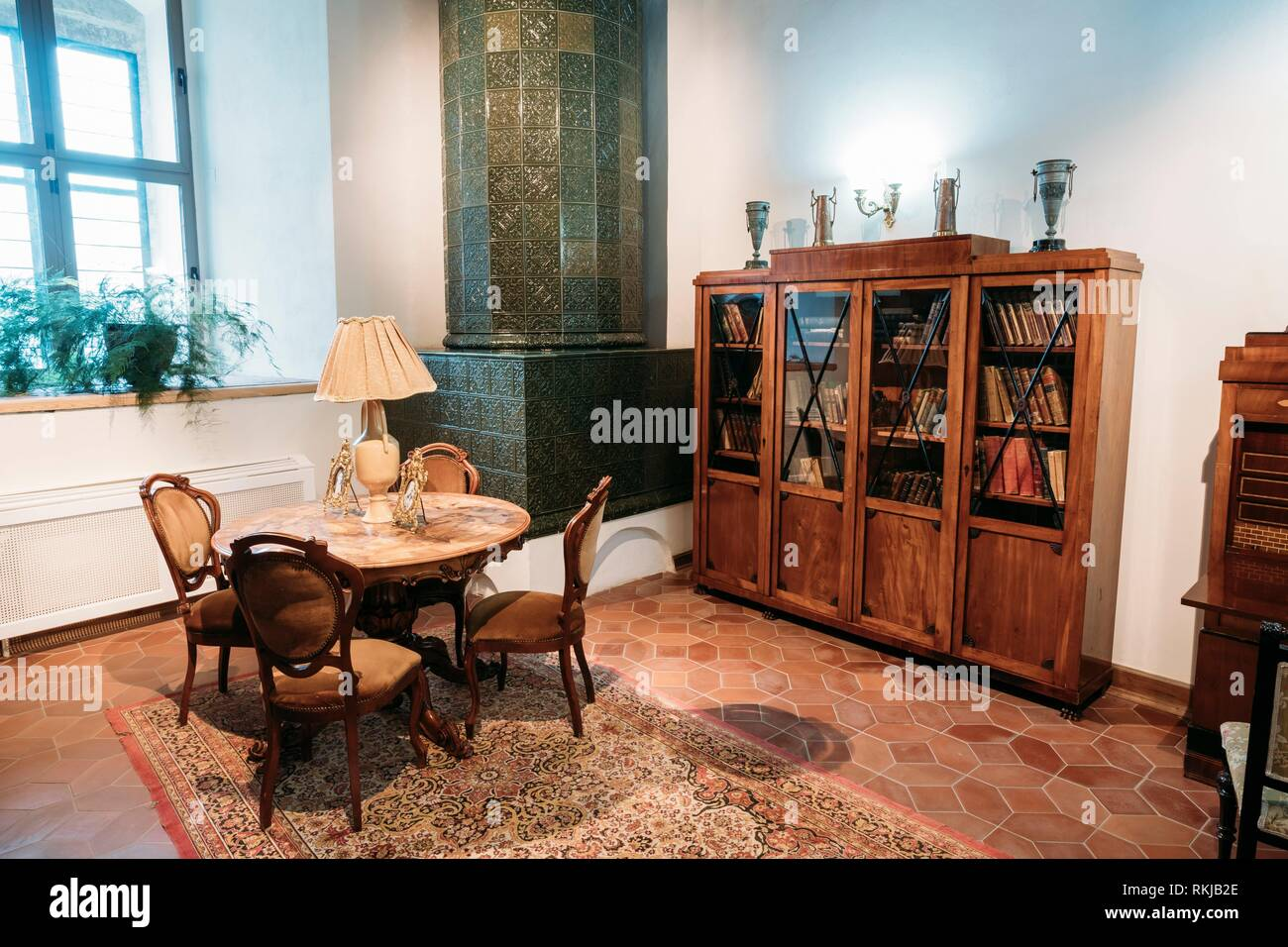 Mir, Belarus - September 1, 2016: Library Of The Prince Mikhail Svyatopolk-Mirsky And Exposition In Castle Complex Museum. Famous Landmark, - Stock Image