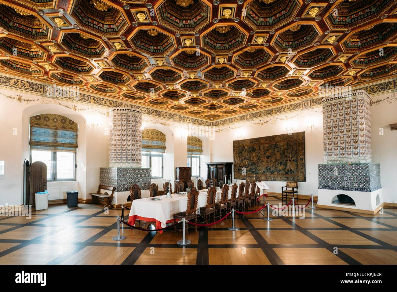 Mir, Belarus - September 1, 2016: Exposition The Dining Room Izba In Castle Complex Museum. Famous Landmark, Architectural Ensemble Of Feudalism, - Stock Image