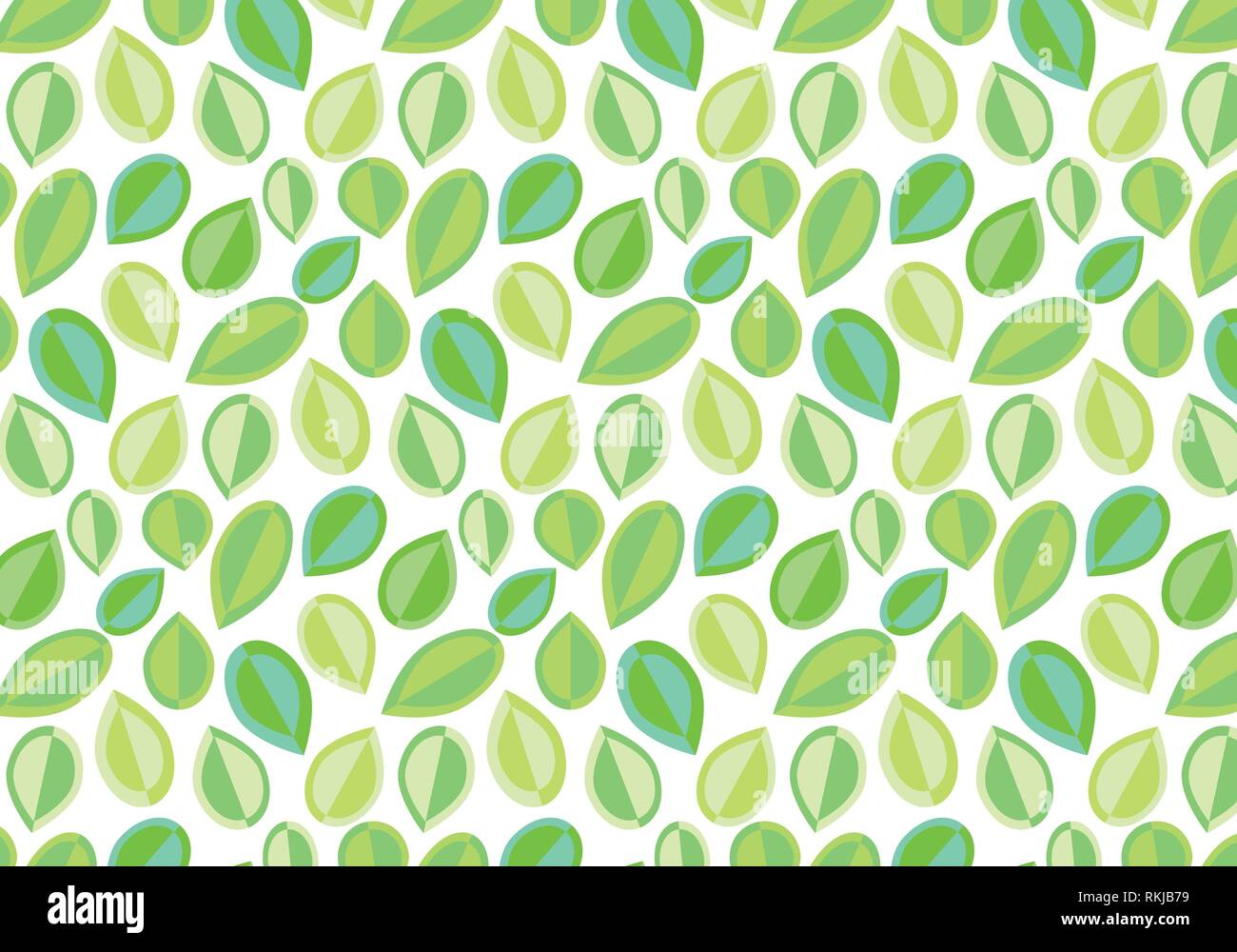Abstract leaves vector pattern in pastel colors green and blue white background - Stock Image