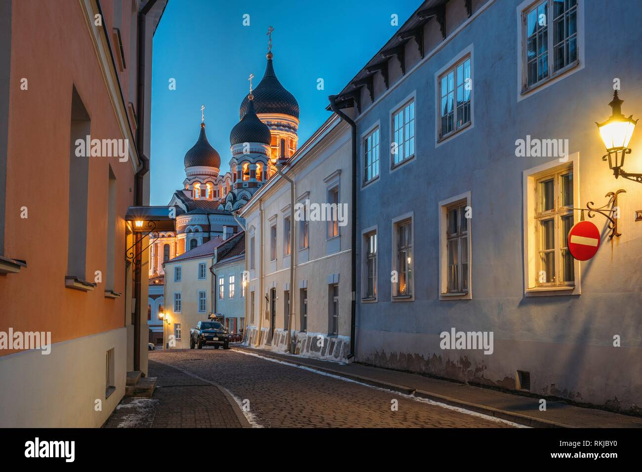 Tallinn, Estonia. Evening Or Night View Of Alexander Nevsky Cathedral From Piiskopi Street. Orthodox Cathedral Is Tallinn's Largest And Grandest Stock Photo
