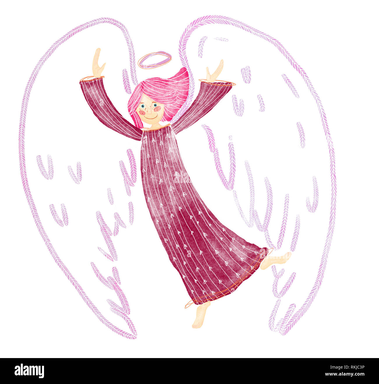 A digital watecolor illustration of happy, dancing guardian angel in shades of red, pink, claret color. Pink hair. - Stock Image
