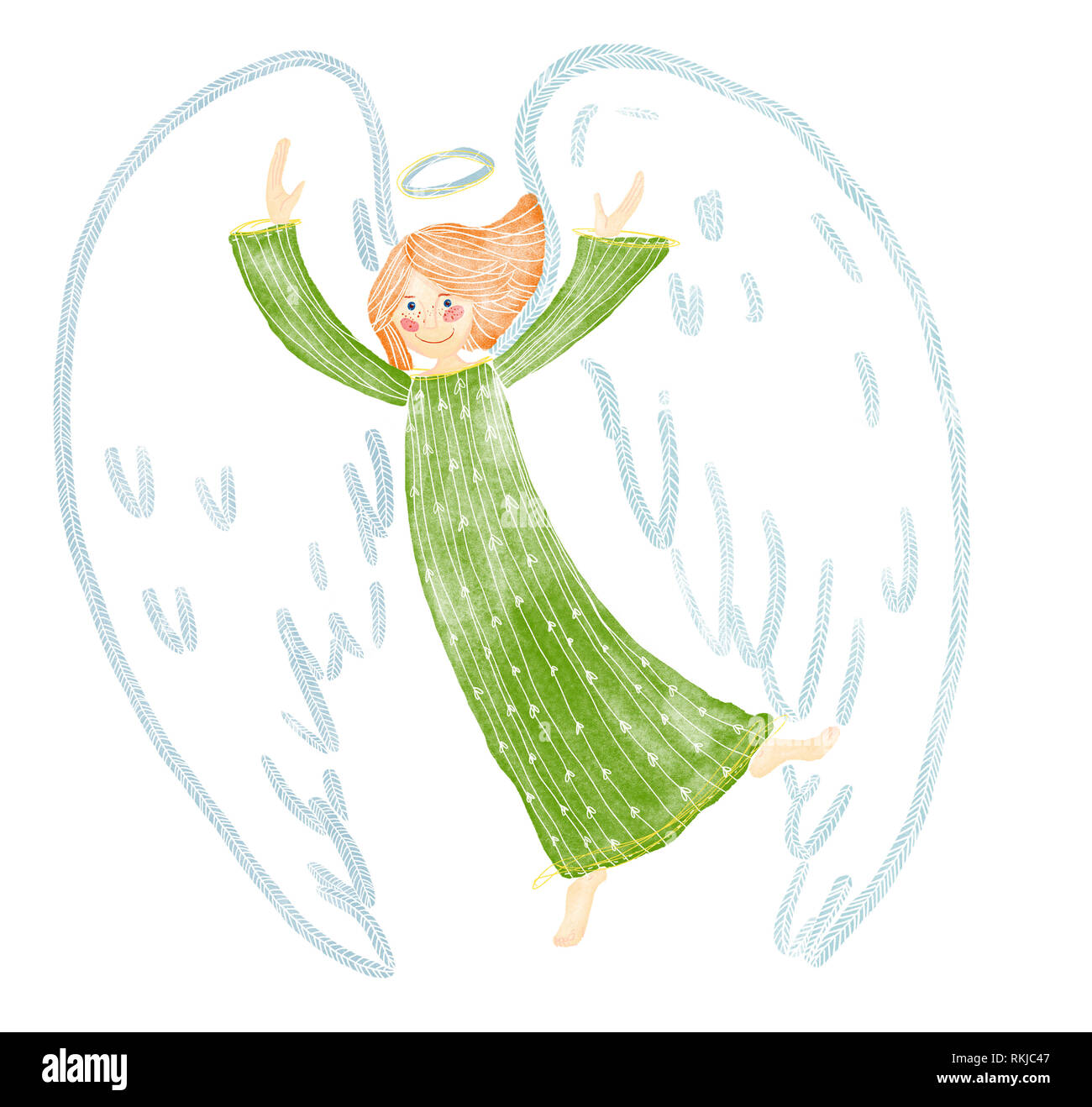 A digital watecolor illustration of happy, dancing guardian angel in shades of green, orange, color. Ginger hair. - Stock Image