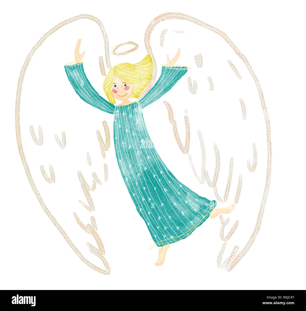 A digital watecolor illustration of happy, dancing guardian angel in shades of blue, turquoise, beige, brown color. Blonde hair. - Stock Image