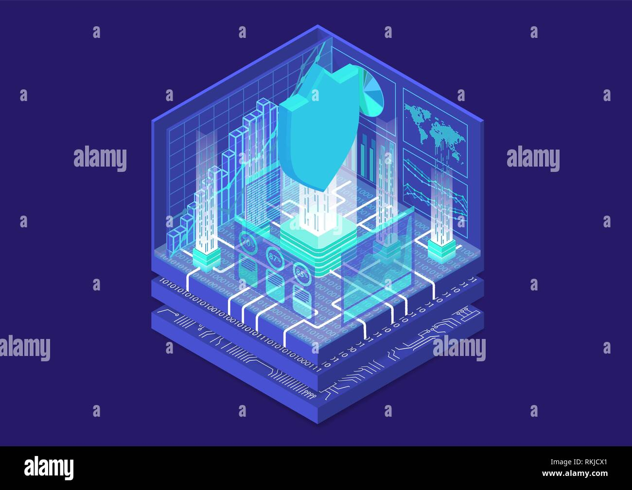 IT Security concept with symbol of shield and analytics dashboard as isometric vector illustration - Stock Vector