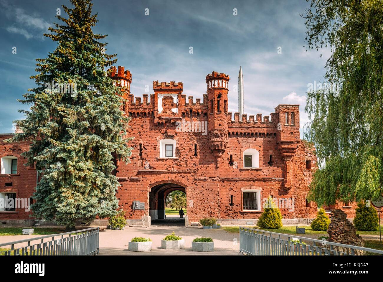 Brest, Belarus. Outside Outdoor Facade Of The Kholm Gate Gates Of The Brest Fortress. Memorial Complex Brest Hero Fortress In Sunny Summer Day. - Stock Image