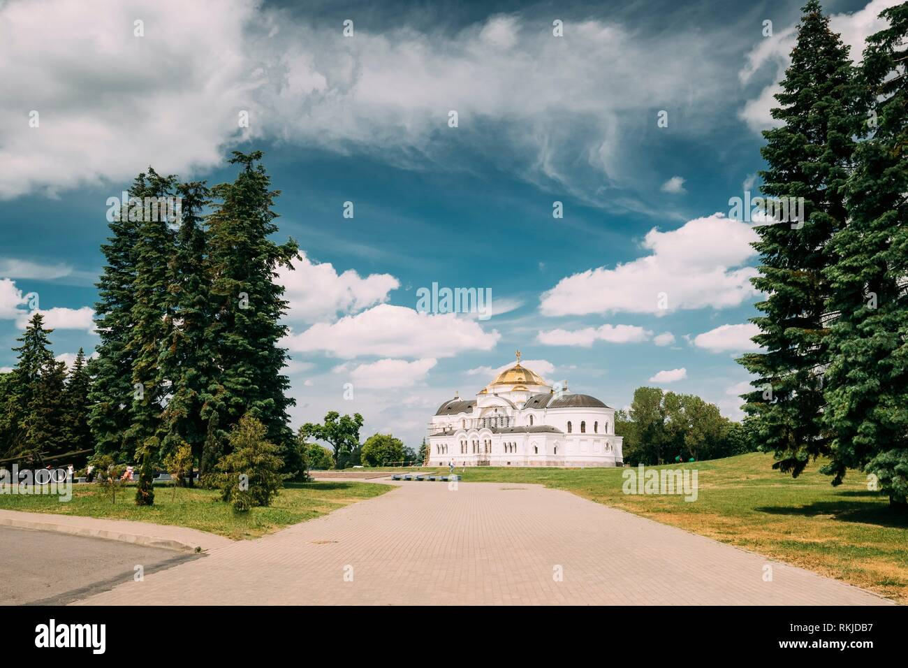 Brest, Belarus. Garrison Cathedral St. Nicholas Church In Memorial Complex Brest Hero Fortress In Sunny Summer Day. - Stock Image