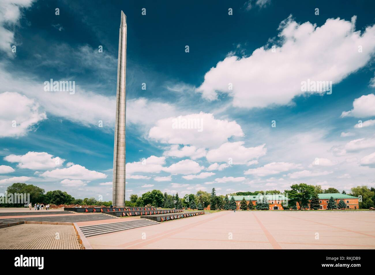 Brest, Belarus. Memorial Monument Bayonet - Obelisk In Brest Hero Fortress In Sunny Summer Day. - Stock Image