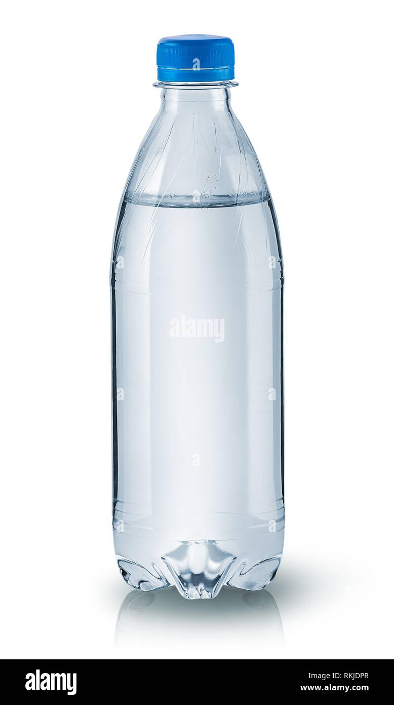 Closed plastic water bottle isolated on white background. - Stock Image