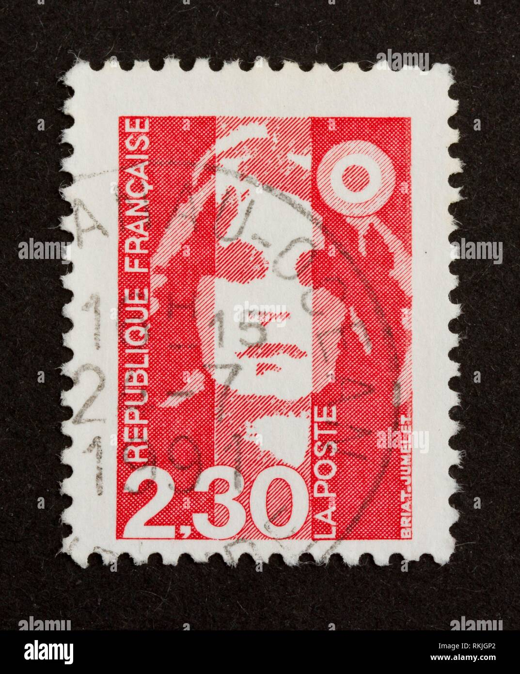 Mail stamp cat and woman