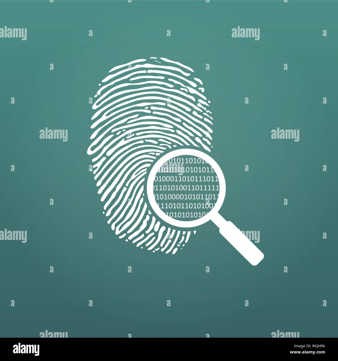 ID fingerprint icon with magnifying glass and matrix 1 0. Fingerprint vector illustration isolated on modern background - Stock Vector