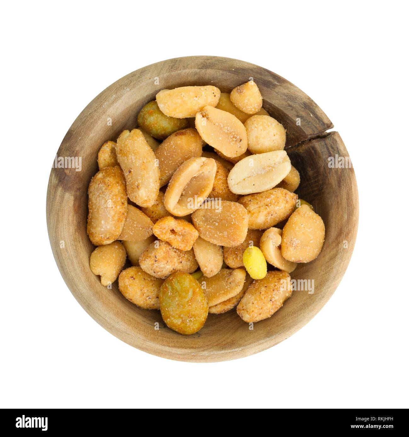 Fresh mixed salted nuts in a bowl, peanut mix, isolated on white. - Stock Image