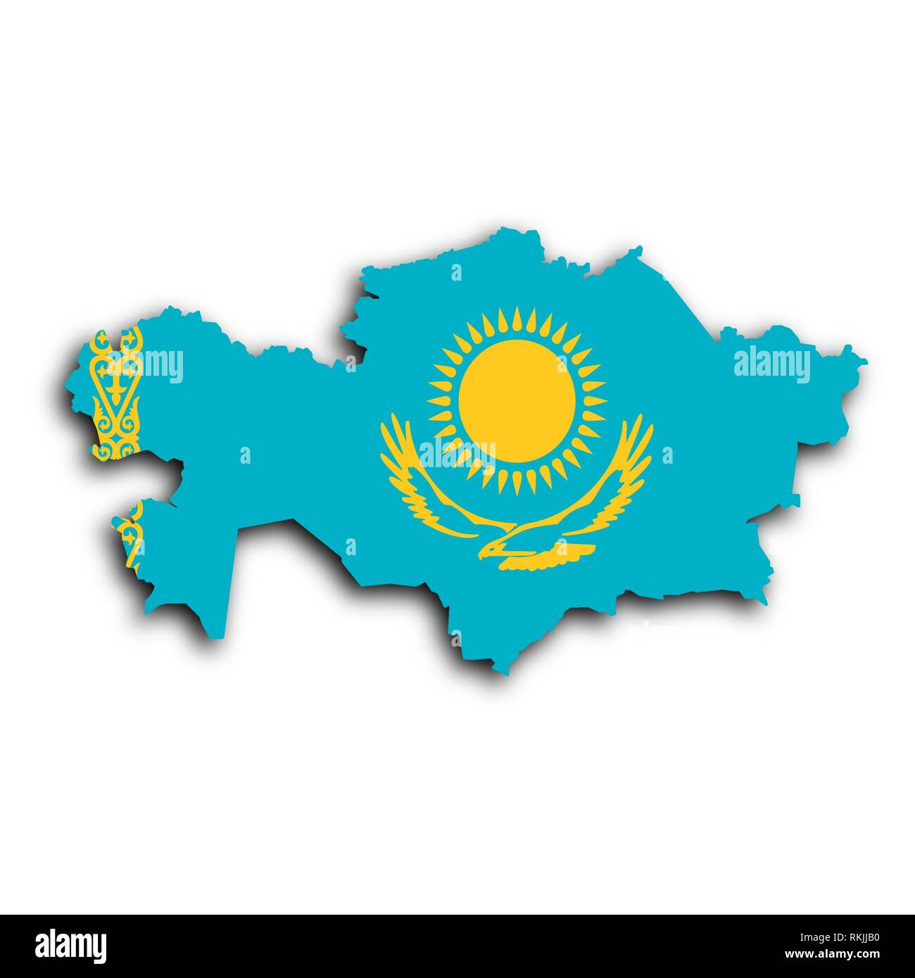 Map of Kazakhstan filled with the national flag. - Stock Image