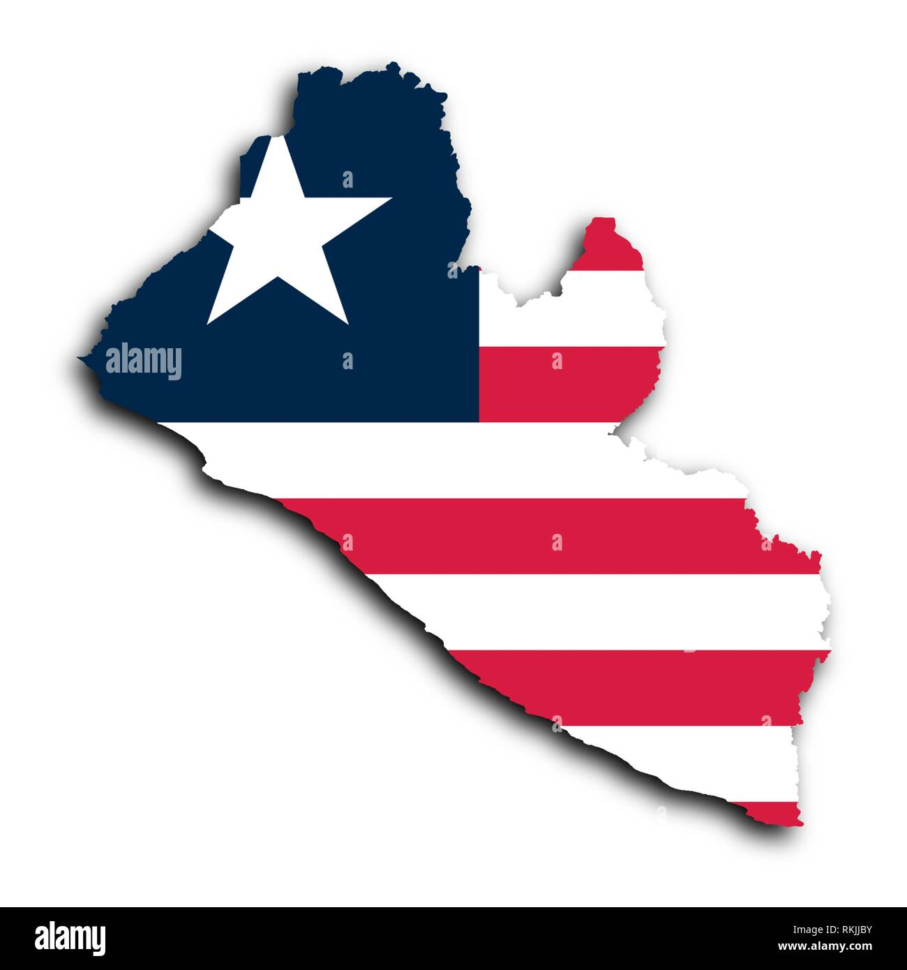 Map of Liberia filled with the national flag. - Stock Image