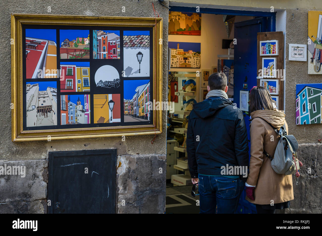 View of an art store in Cuenca old town. - Stock Image