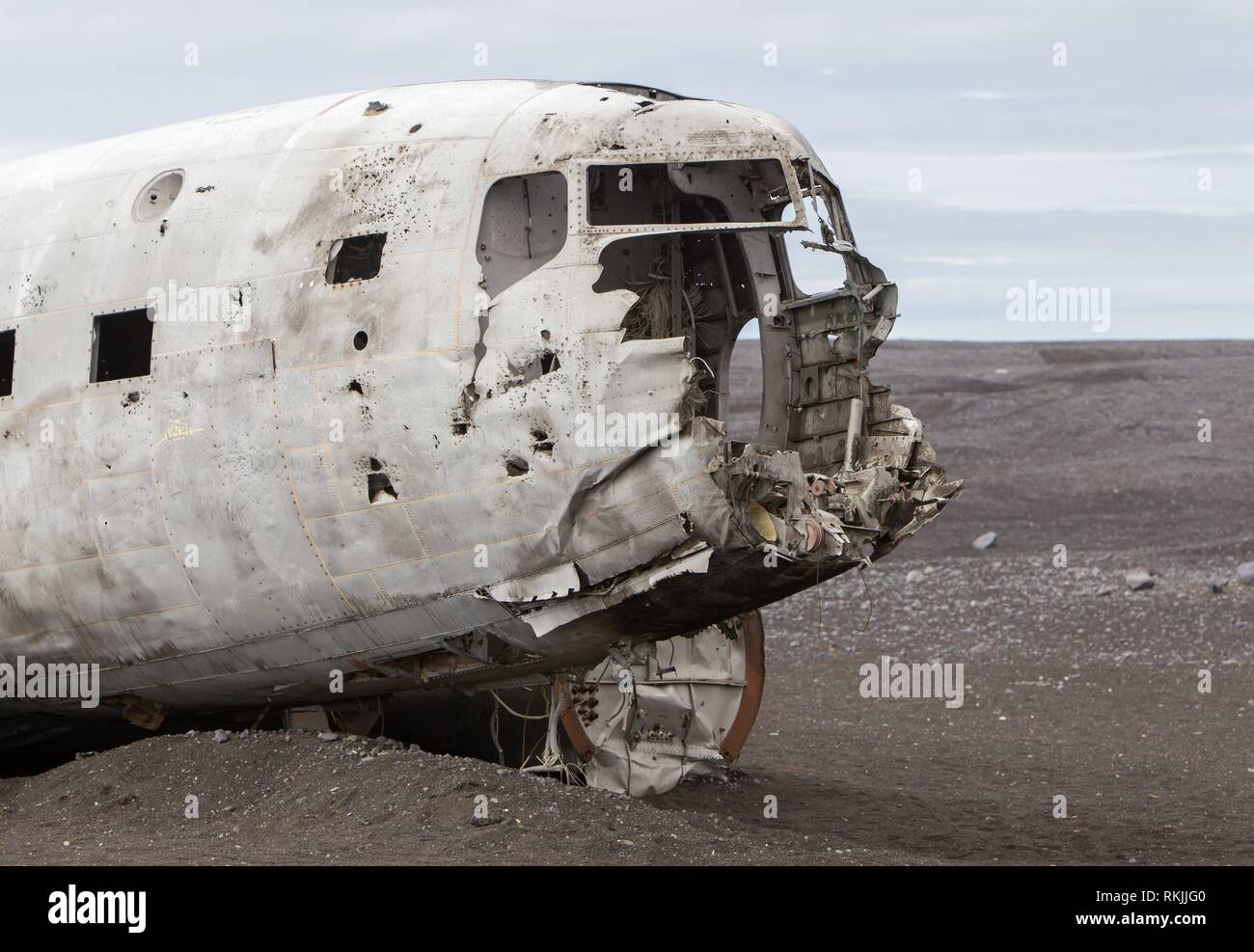 The abandoned wreck of a US military plane on Solheimasandur beach near Vik, Southern Iceland. - Stock Image