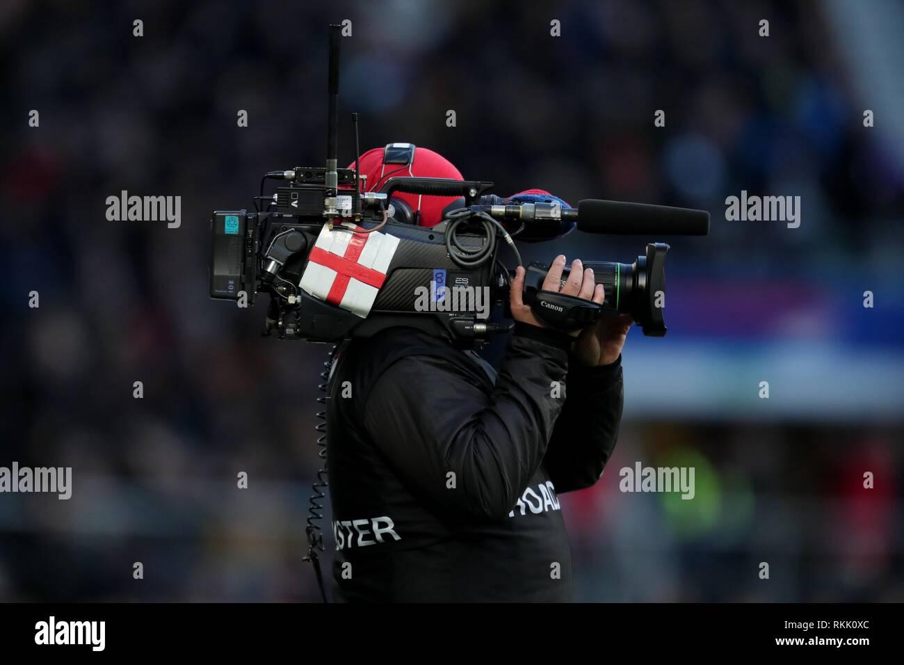 TV CAMERA , ST GEORGE FLAG, TWICKENHAM, LONDON, ENGLAND, ENGLAND V FRANCE, GUINNESS SIX NATIONS 2019, 2019 - Stock Image