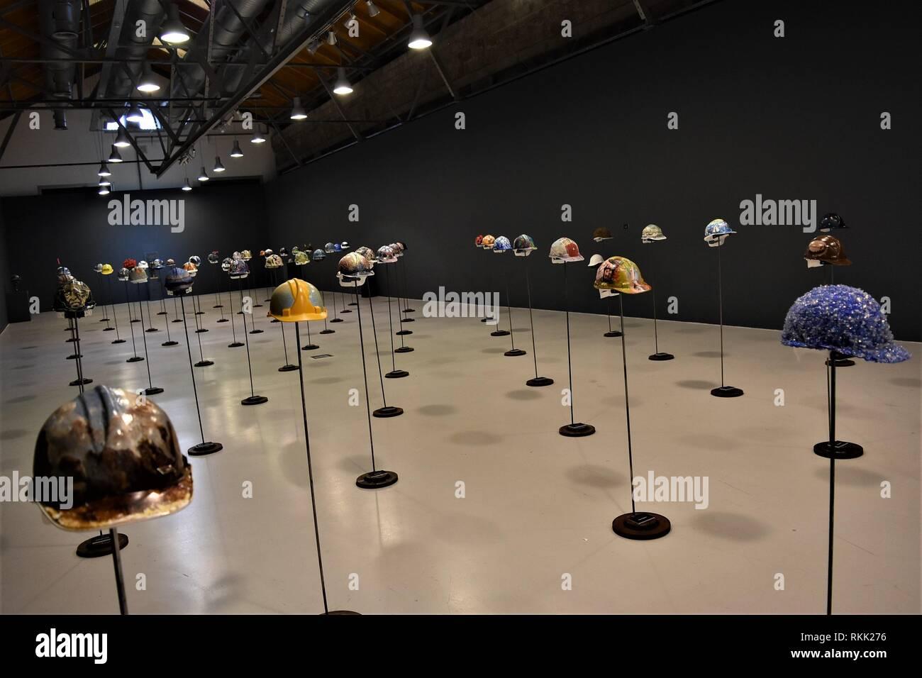 Ankara, Turkey  17th Jan, 2019  Artwork helmets are displayed during