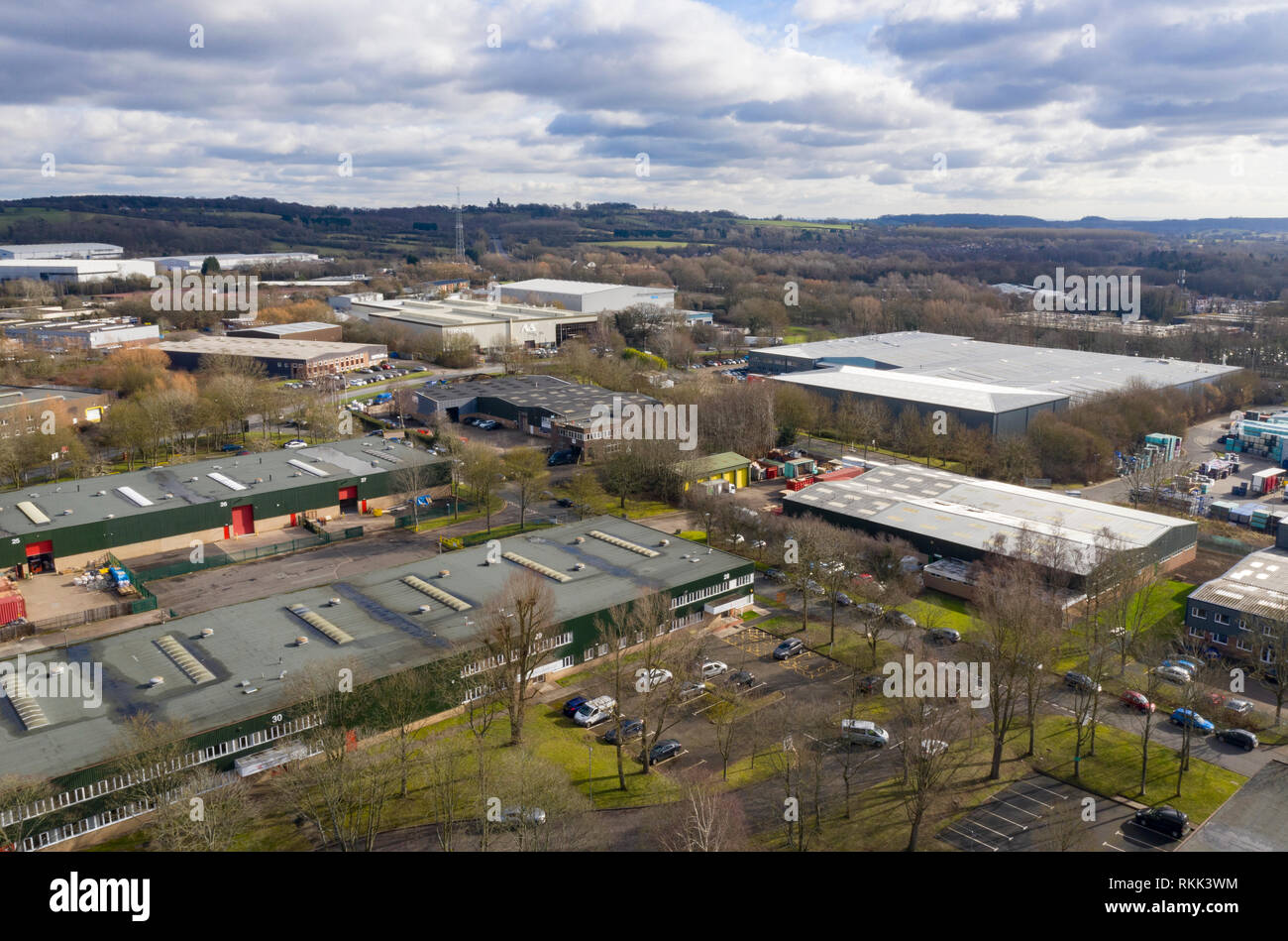An aerial view of a typical Industrial Estate on the outskirts of a British Town in Worcestershire. - Stock Image