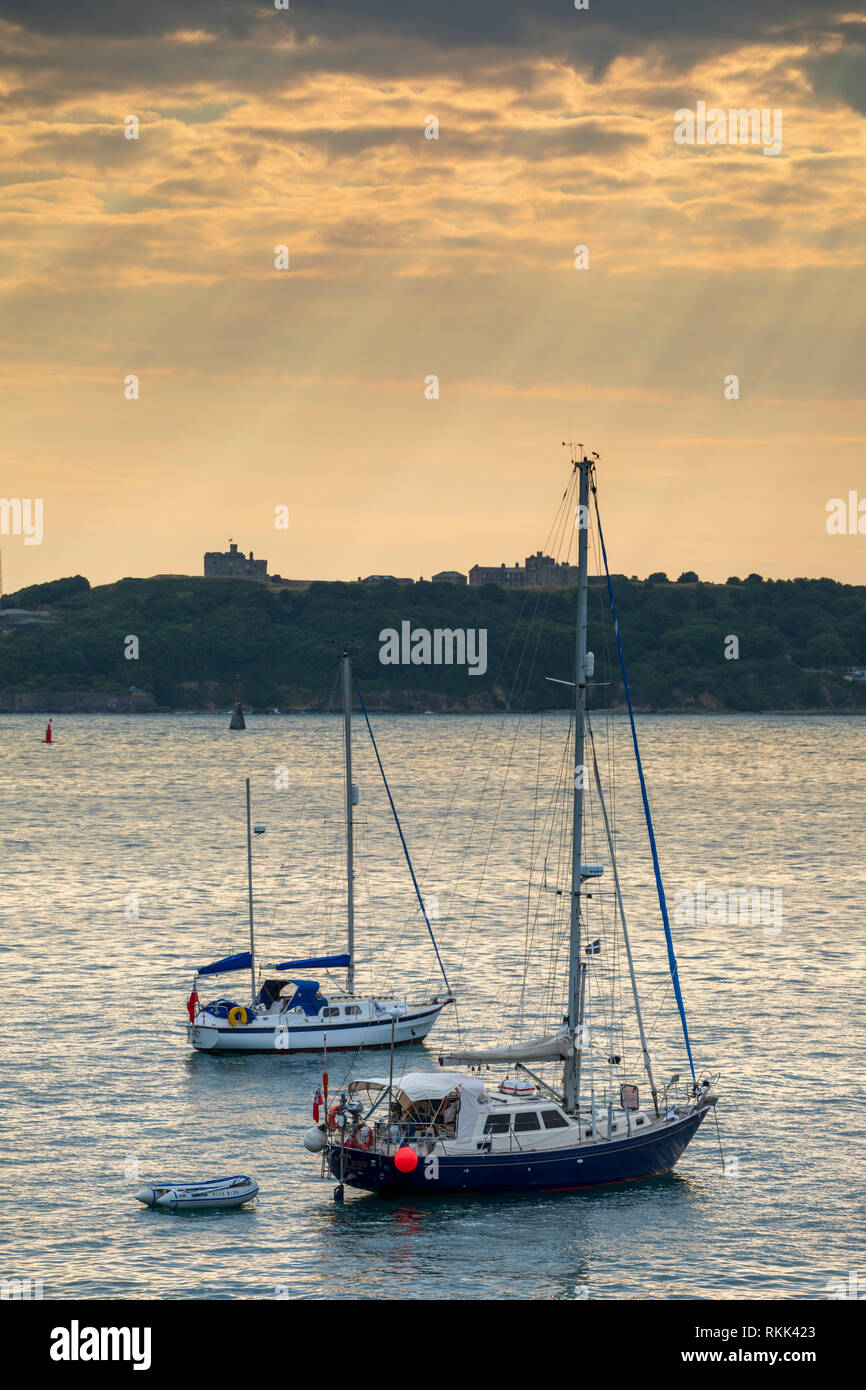 Boats moored in the Carrack Roads captured from neat St Anthony Lightouhse. - Stock Image