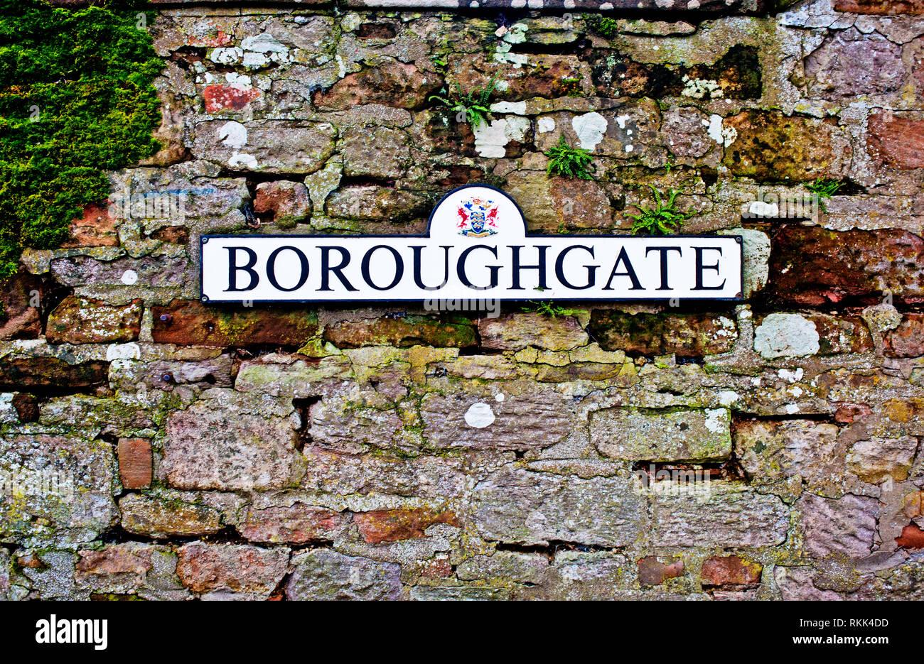 Boroughgate sign, Boroughgate, Appleby in Westmorland, Cumbria, England - Stock Image