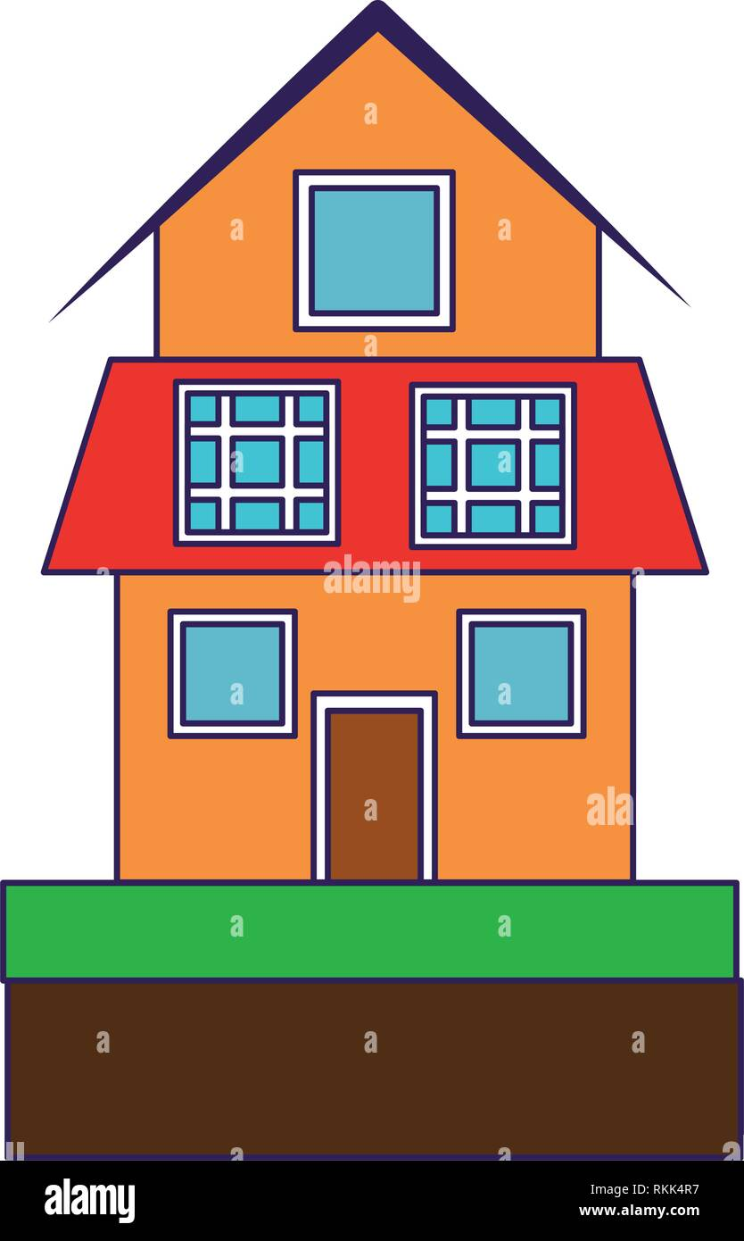 house with solar panels symbol blue lines - Stock Vector