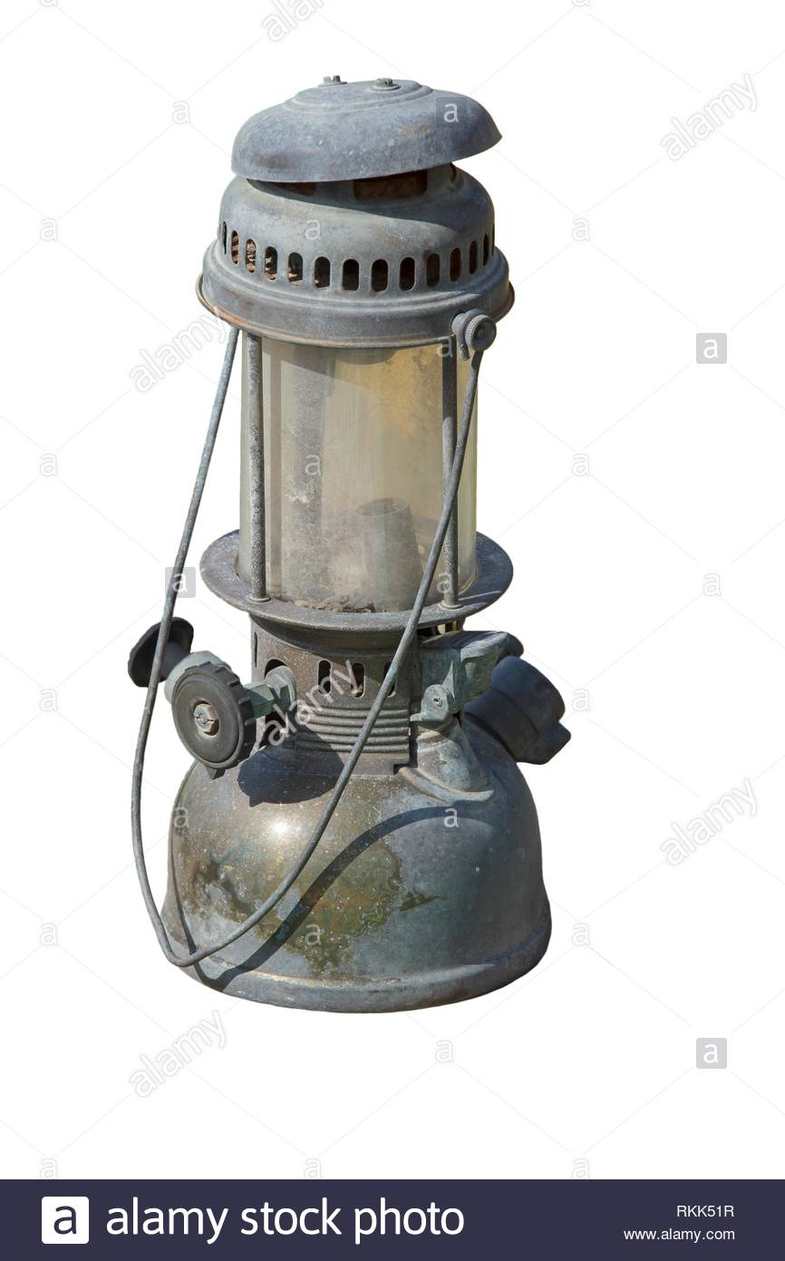 old kerosene lamp on white background. - Stock Image