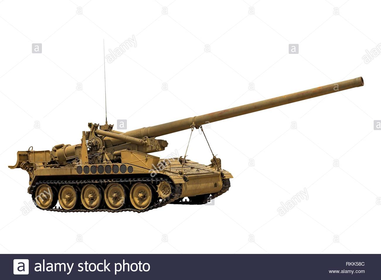 old tank on a white background. - Stock Image
