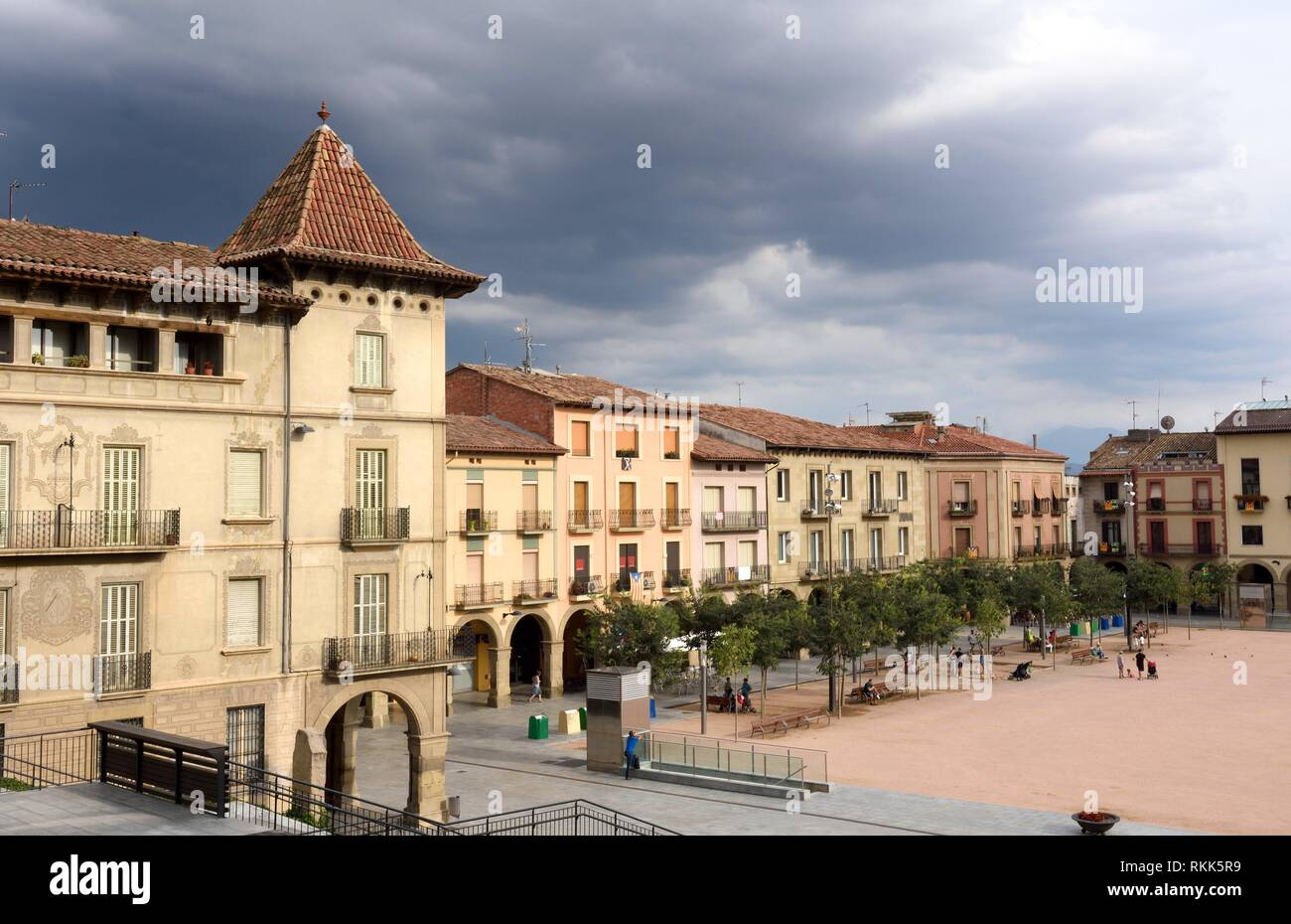 square of Manlleu, Barcelona province, Catalonia, Spain. - Stock Image