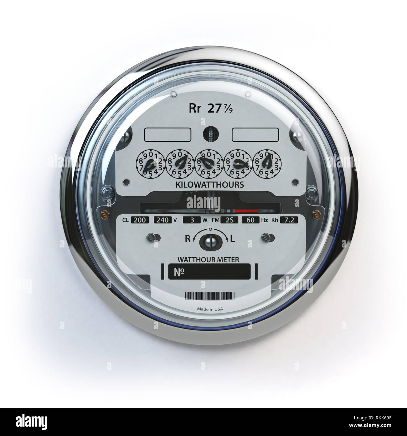 Analog electric meter isolated on white. Electricity consumption concept. 3d illustration. - Stock Image