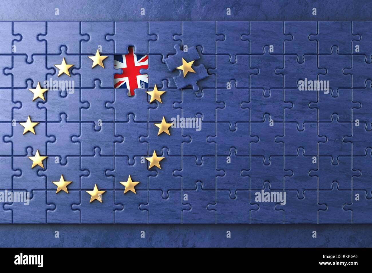 Brexit concept. Puzzle with EU European Union flag without Great Britain UK star. 3d illustration. - Stock Image